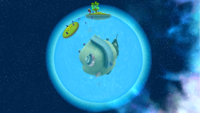 """A screenshot of Drip Drop Galaxy during the """"Giant Eel Outbreak"""" mission from Super Mario Galaxy."""