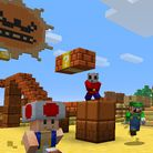 Preview for a Play Nintendo opinion poll on which Super Mario-themed skin to use first in Minecraft: Wii U Edition. Original filename: <tt>1x1_MinecraftMashupSkins_v02.a25bebd1.jpg</tt>