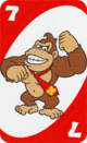 The Red Seven card from the UNO Super Mario deck (featuring Donkey Kong)