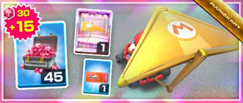 The Gold Glider Pack from the 1st Anniversary Tour in Mario Kart Tour