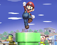 Mario jumping out of a pipe in Brawl.