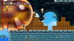 New Super Luigi U Luigi, Blue Toad, Yellow Toad and Nabbit running away from a King Bill in a castle level.