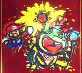 Graffiti of Mario, Bowser Jr., and a Cat Shine in Super Mario 3D World + Bowser's Fury